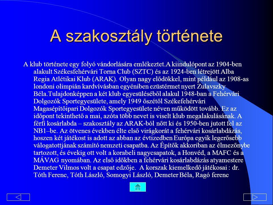 A szakosztály története A klub története egy folyó vándorlására emlékeztet.A kiindulópont az 1904-ben alakult Székesfehérvári Torna Club (SZTC) és az 1924-ben létrejött Alba Regia Atlétikai Klub (ARAK).