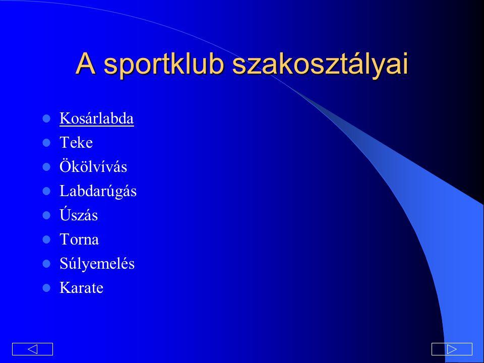A sportklub szakosztályai Kosárlabda Teke Ökölvívás Labdarúgás Úszás Torna Súlyemelés Karate