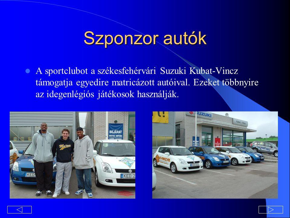 Szponzor autók A sportclubot a székesfehérvári Suzuki Kubat-Vincz támogatja egyedire matricázott autóival.