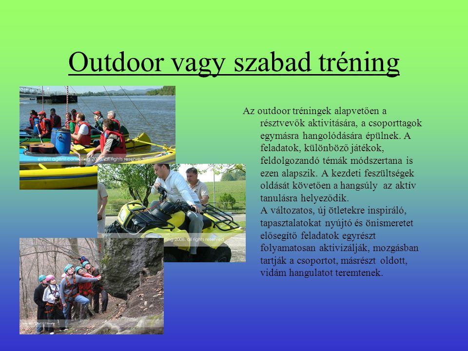 Outdoor vagy szabad tréning Az outdoor tréningek alapvetően a résztvevők aktivitására, a csoporttagok egymásra hangolódására épülnek.