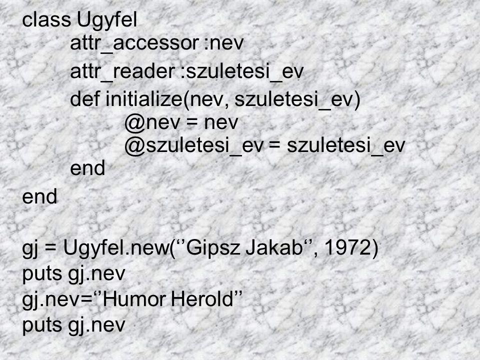 class Ugyfel attr_accessor :nev attr_reader :szuletesi_ev def initialize(nev, szuletesi_ev) @nev = nev @szuletesi_ev = szuletesi_ev end end gj = Ugyfel.new(''Gipsz Jakab'', 1972) puts gj.nev gj.nev=''Humor Herold'' puts gj.nev