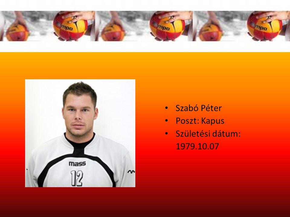 Szabó Péter Poszt: Kapus Születési dátum: 1979.10.07