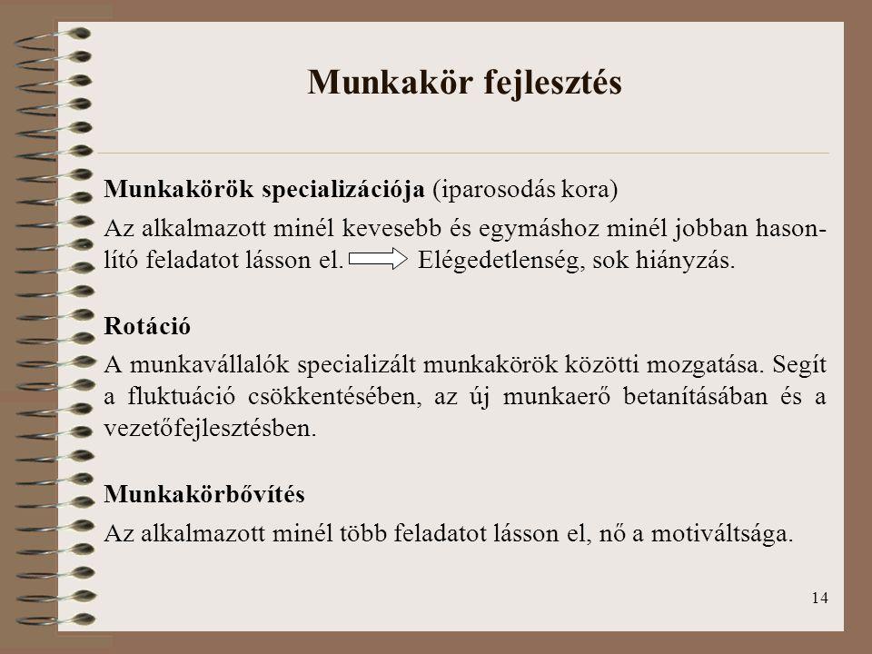 14 Munkakör fejlesztés Munkakörök specializációja (iparosodás kora) Az alkalmazott minél kevesebb és egymáshoz minél jobban hason- lító feladatot lásson el.