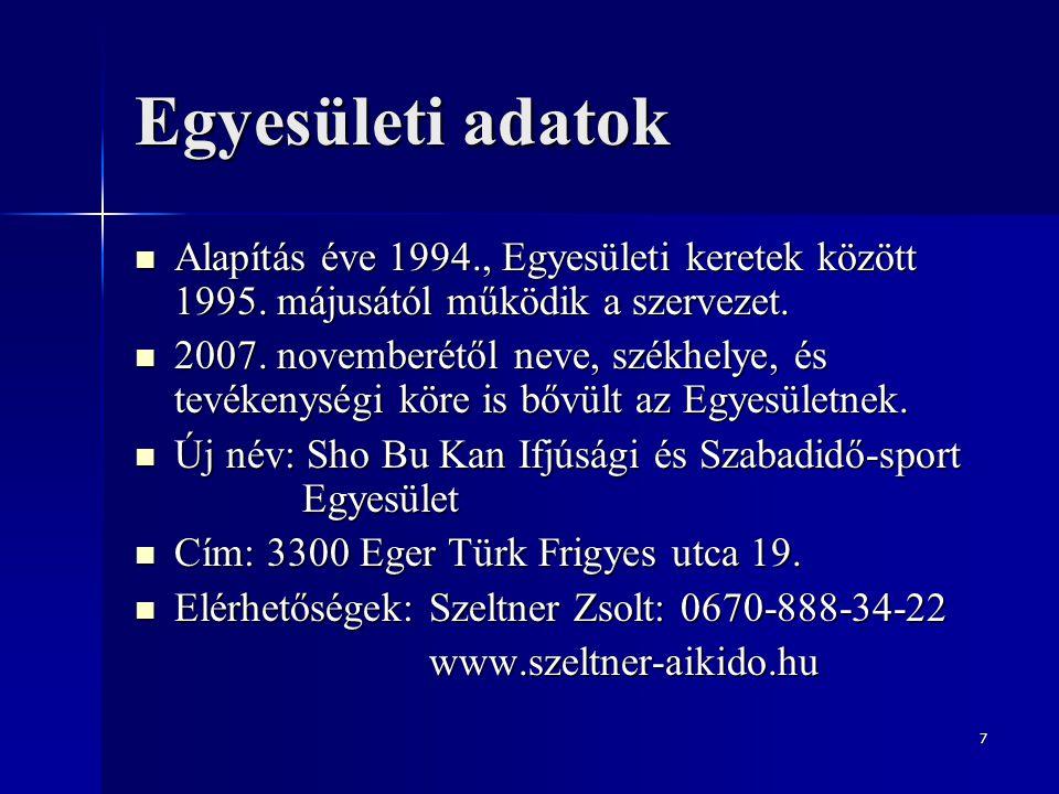 8 Az Egyesület szervezeti felépítése Az Egyesület elnöke: Az Egyesület elnöke: Szeltner Zsolt (4.dan) Az Egyesület elnökhelyettese: Az Egyesület elnökhelyettese: Farsang Attila (2.