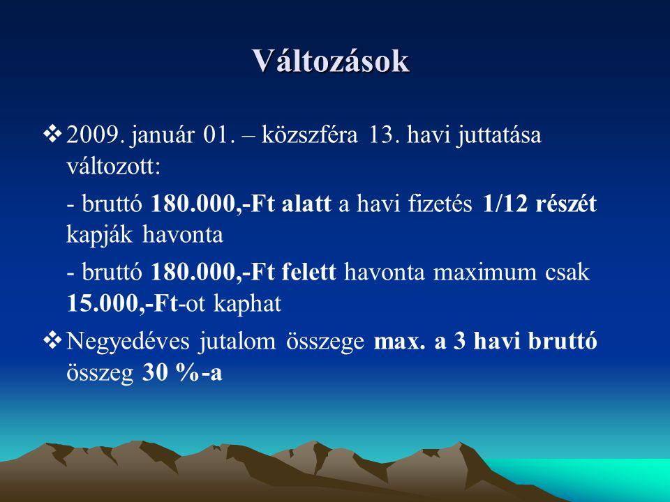 Változások  2009.január 01. – közszféra 13.