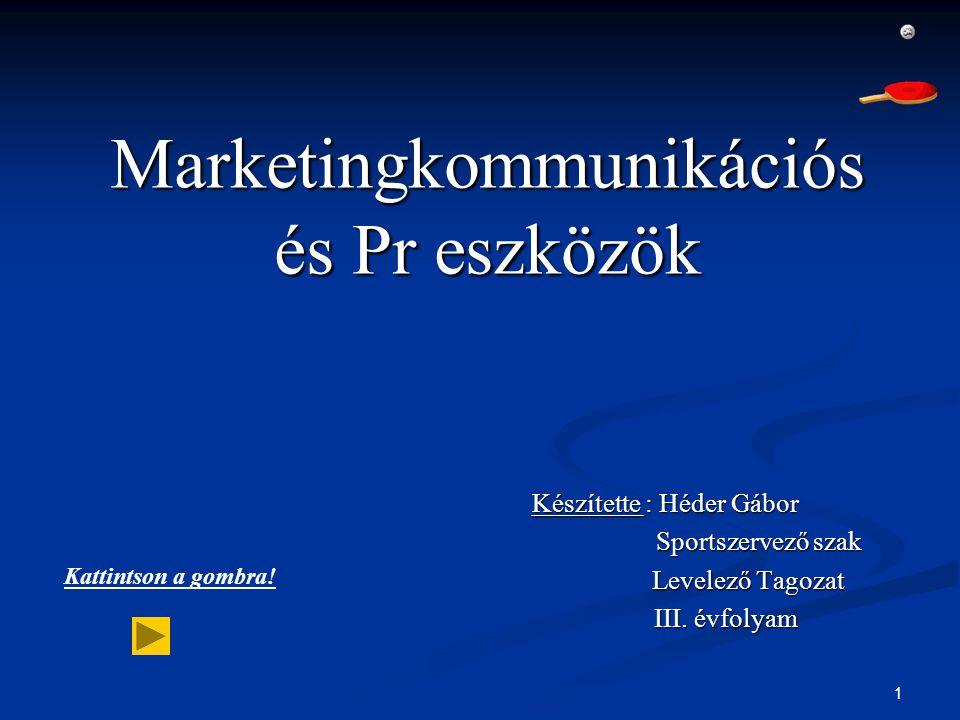 1 Marketingkommunikációs és Pr eszközök Készítette : Héder Gábor Sportszervező szak Sportszervező szak Levelező Tagozat Levelező Tagozat III. évfolyam