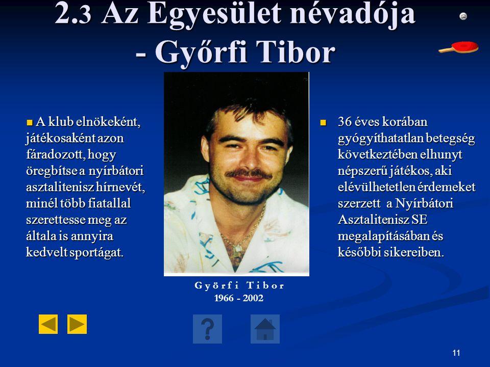 11 2. 3 Az Egyesület névadója - Győrfi Tibor 36 éves korában gyógyíthatatlan betegség következtében elhunyt népszerű játékos, aki elévülhetetlen érdem