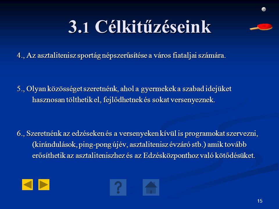 15 3. 1 Célkitűzéseink 4., Az asztalitenisz sportág népszerűsítése a város fiataljai számára. 5., Olyan közösséget szeretnénk, ahol a gyermekek a szab