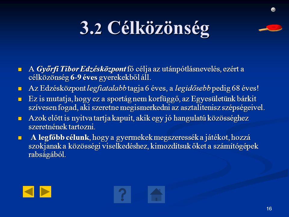 16 3. 2 Célközönség A Győrfi Tibor Edzésközpont fő célja az utánpótlásnevelés, ezért a célközönség 6-9 éves gyerekekből áll. A Győrfi Tibor Edzésközpo
