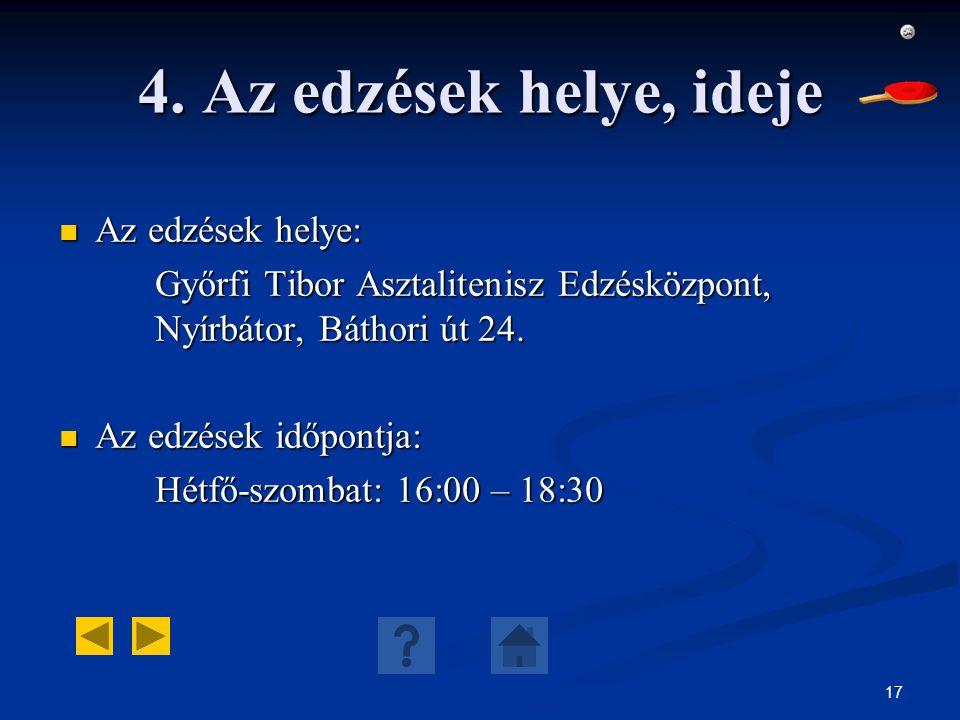 17 4. Az edzések helye, ideje Az edzések helye: Az edzések helye: Győrfi Tibor Asztalitenisz Edzésközpont, Nyírbátor, Báthori út 24. Az edzések időpon