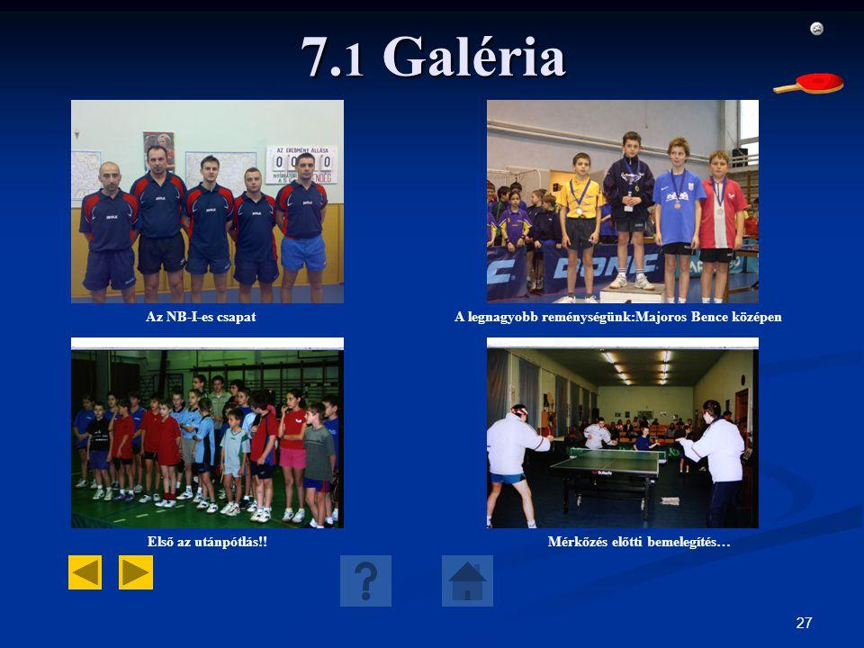 27 7. 1 Galéria Az NB-I-es csapatA legnagyobb reménységünk:Majoros Bence középen Első az utánpótlás!!Mérkőzés előtti bemelegítés…