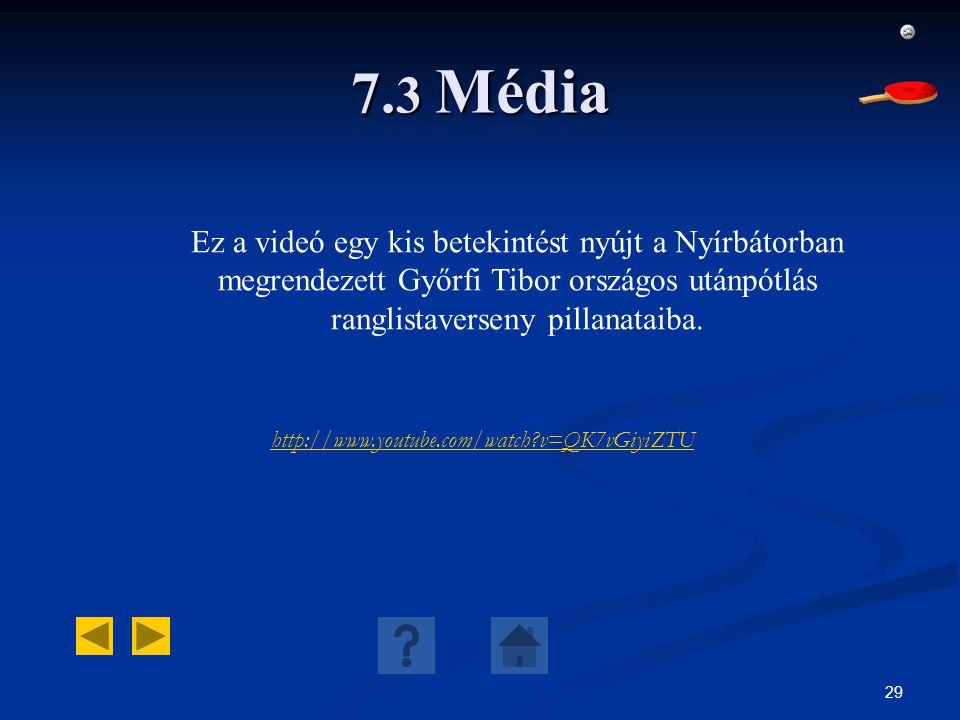 29 7. 3 Média http://www.youtube.com/watch?v=QK7vGiyiZTU Ez a videó egy kis betekintést nyújt a Nyírbátorban megrendezett Győrfi Tibor országos utánpó