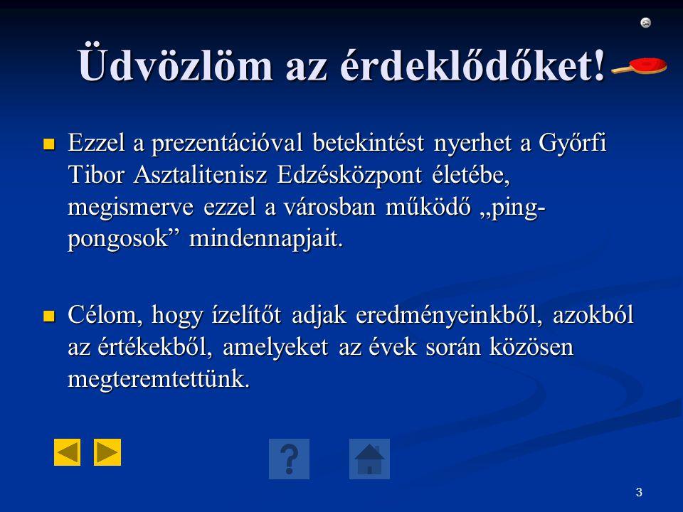 3 Üdvözlöm az érdeklődőket! Ezzel a prezentációval betekintést nyerhet a Győrfi Tibor Asztalitenisz Edzésközpont életébe, megismerve ezzel a városban