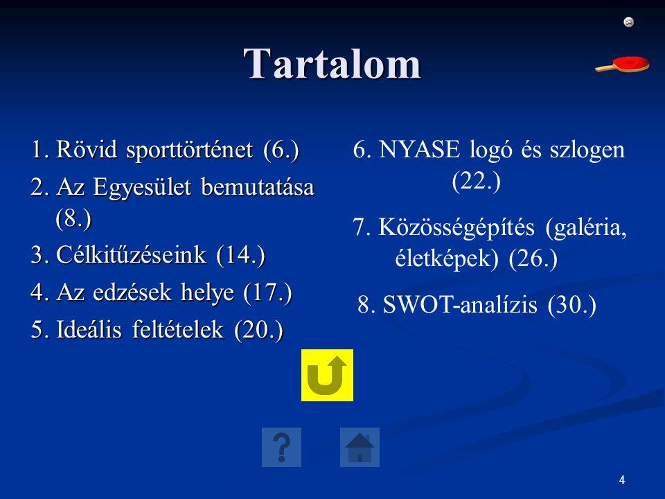 4 Tartalom 1. Rövid sporttörténet (6.) 2. Az Egyesület bemutatása (8.) 3. Célkitűzéseink (14.) 4. Az edzések helye (17.) 5. Ideális feltételek (20.) 6