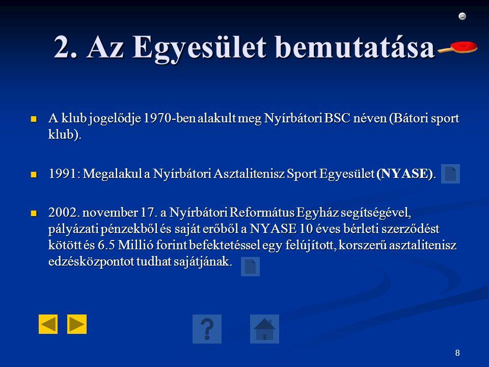 8 2. Az Egyesület bemutatása A klub jogelődje 1970-ben alakult meg Nyírbátori BSC néven (Bátori sport klub). A klub jogelődje 1970-ben alakult meg Nyí