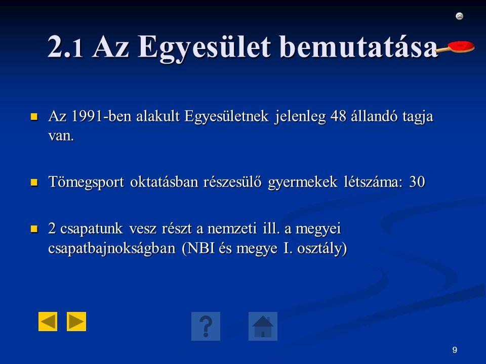 9 2. 1 Az Egyesület bemutatása Az 1991-ben alakult Egyesületnek jelenleg 48 állandó tagja van. Az 1991-ben alakult Egyesületnek jelenleg 48 állandó ta
