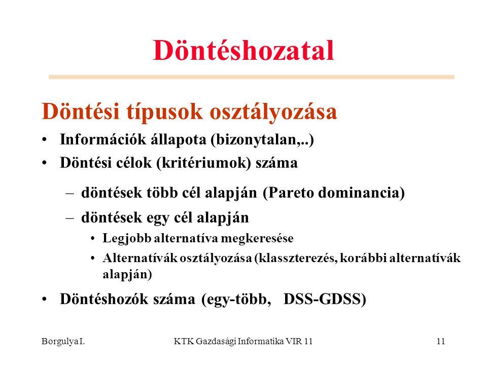 Borgulya I.KTK Gazdasági Informatika VIR 1111 Döntéshozatal Döntési típusok osztályozása Információk állapota (bizonytalan,..) Döntési célok (kritériu
