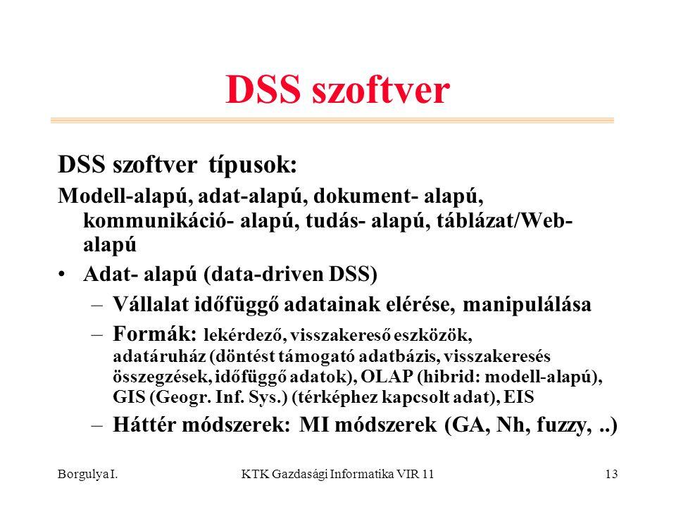 Borgulya I.KTK Gazdasági Informatika VIR 1113 DSS szoftver DSS szoftver típusok: Modell-alapú, adat-alapú, dokument- alapú, kommunikáció- alapú, tudás- alapú, táblázat/Web- alapú Adat- alapú (data-driven DSS) –Vállalat időfüggő adatainak elérése, manipulálása –Formák: lekérdező, visszakereső eszközök, adatáruház (döntést támogató adatbázis, visszakeresés összegzések, időfüggő adatok), OLAP (hibrid: modell-alapú), GIS (Geogr.