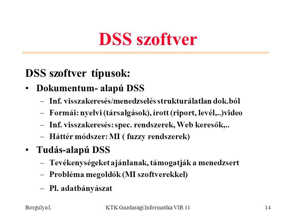 Borgulya I.KTK Gazdasági Informatika VIR 1114 DSS szoftver DSS szoftver típusok: Dokumentum- alapú DSS –Inf. visszakeresés/menedzselés strukturálatlan