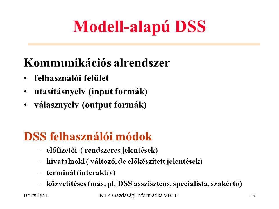 Borgulya I.KTK Gazdasági Informatika VIR 1119 Modell-alapú DSS Kommunikációs alrendszer felhasználói felület utasításnyelv (input formák) válasznyelv (output formák) DSS felhasználói módok –előfizetői ( rendszeres jelentések) –hivatalnoki ( változó, de előkészített jelentések) –terminál (interaktív) –közvetítéses (más, pl.