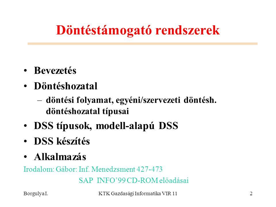 Borgulya I.KTK Gazdasági Informatika VIR 112 Döntéstámogató rendszerek Bevezetés Döntéshozatal –döntési folyamat, egyéni/szervezeti döntésh. döntéshoz