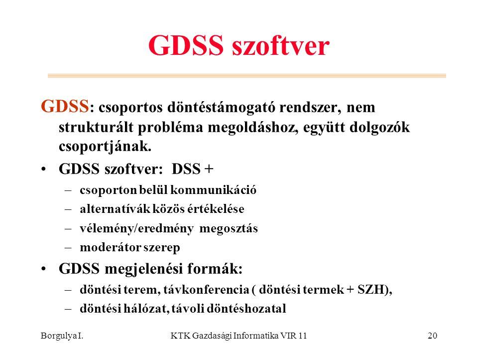 Borgulya I.KTK Gazdasági Informatika VIR 1120 GDSS szoftver GDSS : csoportos döntéstámogató rendszer, nem strukturált probléma megoldáshoz, együtt dolgozók csoportjának.
