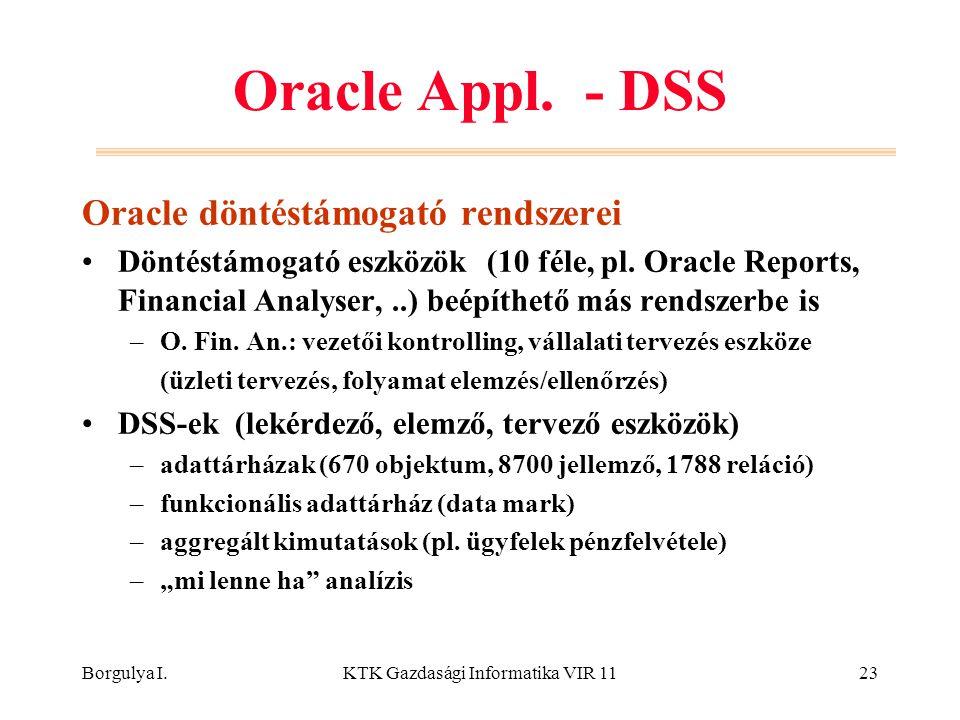 Borgulya I.KTK Gazdasági Informatika VIR 1123 Oracle Appl. - DSS Oracle döntéstámogató rendszerei Döntéstámogató eszközök (10 féle, pl. Oracle Reports