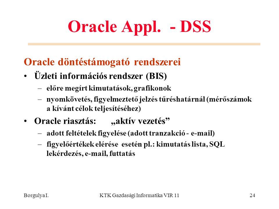 Borgulya I.KTK Gazdasági Informatika VIR 1124 Oracle Appl. - DSS Oracle döntéstámogató rendszerei Üzleti információs rendszer (BIS) –előre megírt kimu