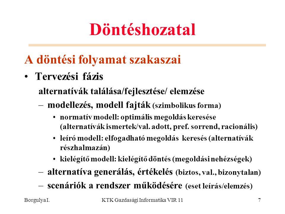 Borgulya I.KTK Gazdasági Informatika VIR 1118 Modell-alapú DSS Modellező alrendszer Modellbázis –szint: stratégiai, taktikai, működtetési (vezetői ig.) –funkció: modellblokk (pl.