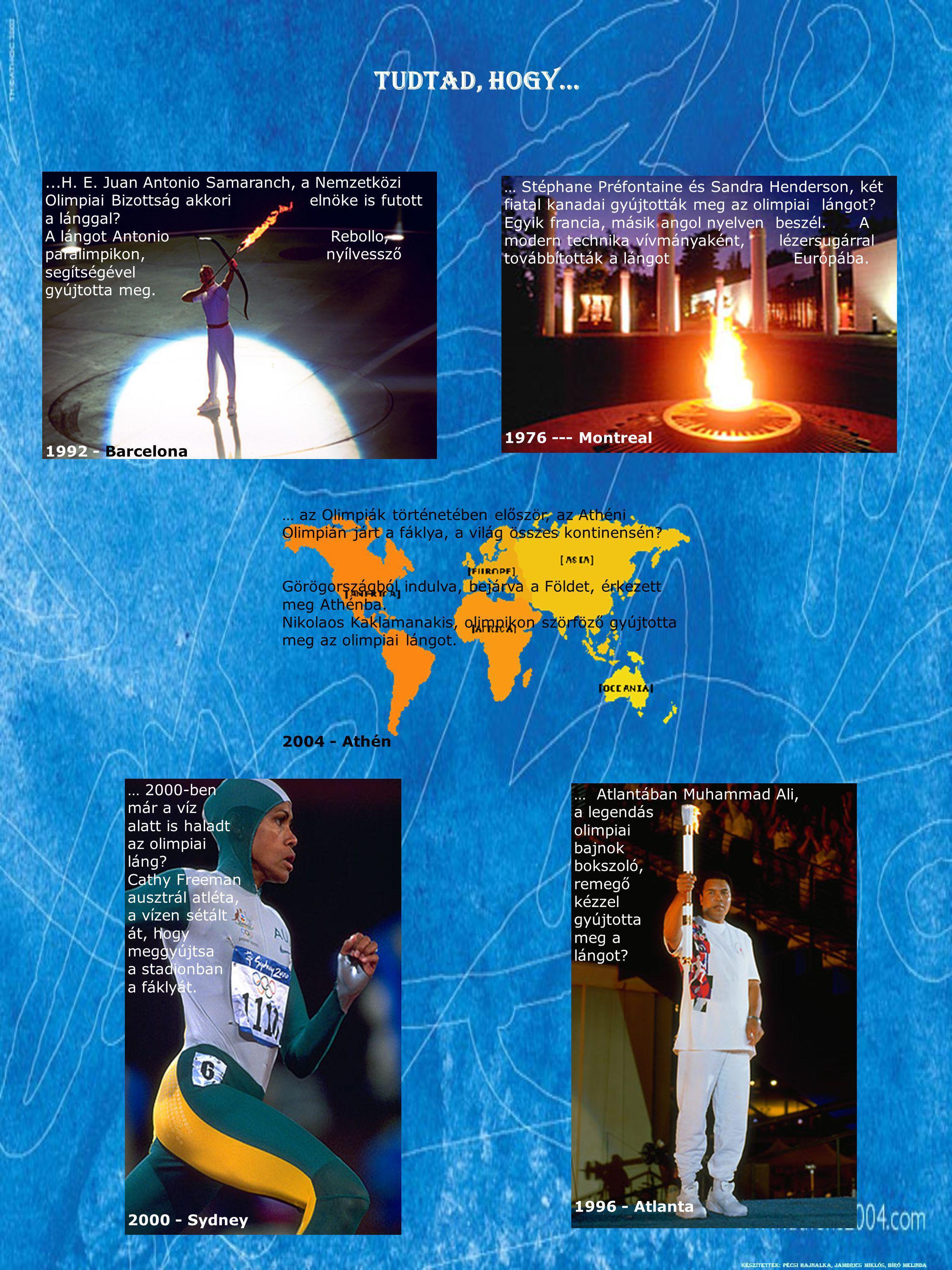 Tudtad, hogy…...H. E. Juan Antonio Samaranch, a Nemzetközi Olimpiai Bizottság akkori elnöke is futott a lánggal? A lángot Antonio Rebollo, paralimpiko
