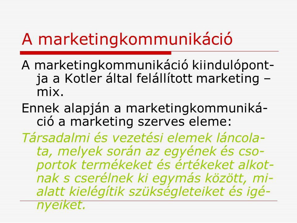 A marketingkommunikáció A marketingkommunikáció kiindulópont- ja a Kotler által felállított marketing – mix. Ennek alapján a marketingkommuniká- ció a