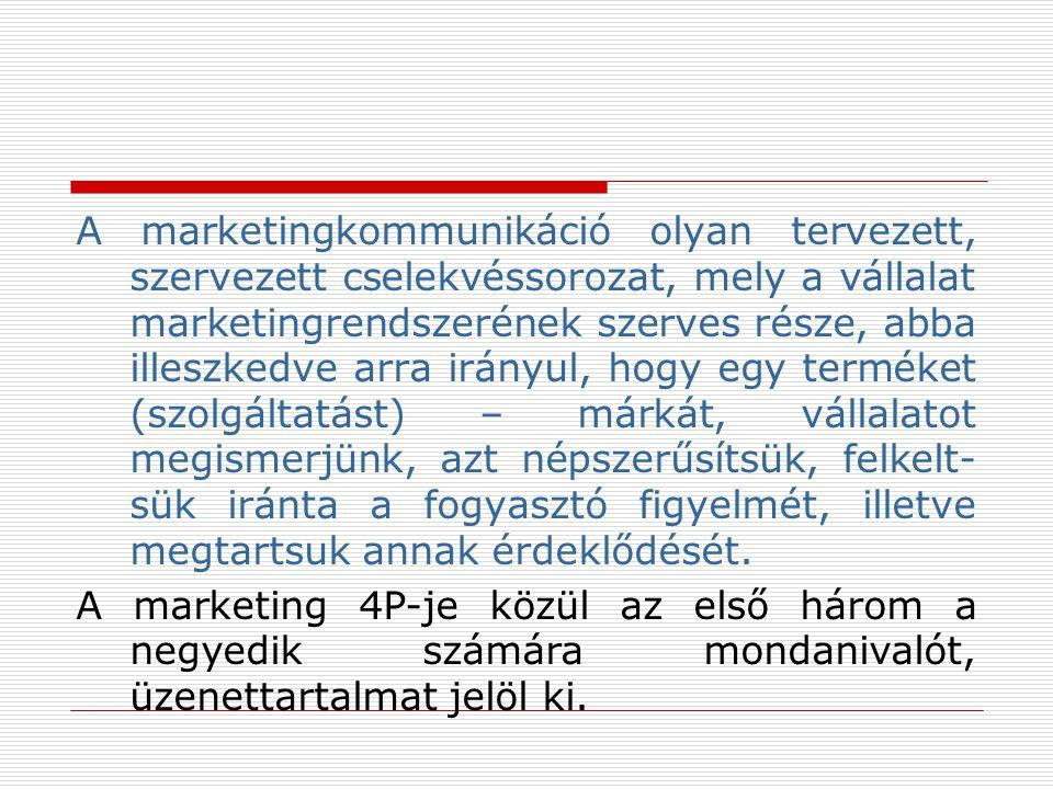 A marketingkommunikáció olyan tervezett, szervezett cselekvéssorozat, mely a vállalat marketingrendszerének szerves része, abba illeszkedve arra irány