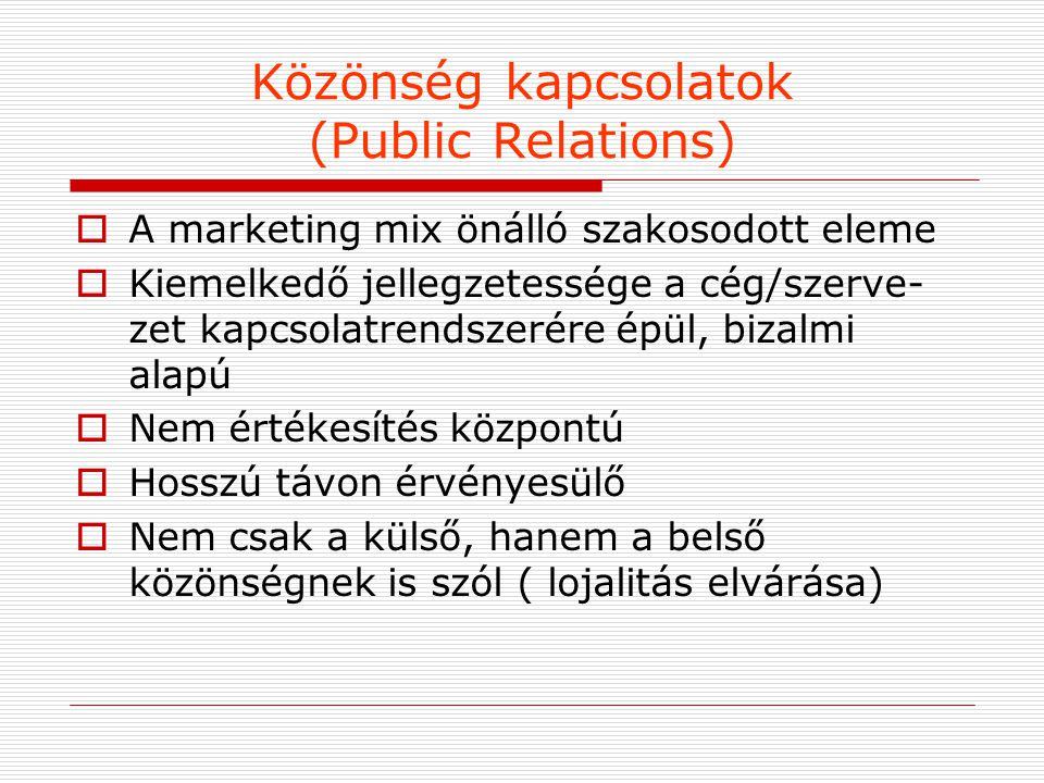 Közönség kapcsolatok (Public Relations)  A marketing mix önálló szakosodott eleme  Kiemelkedő jellegzetessége a cég/szerve- zet kapcsolatrendszerére