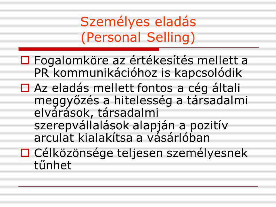 Személyes eladás (Personal Selling)  Fogalomköre az értékesítés mellett a PR kommunikációhoz is kapcsolódik  Az eladás mellett fontos a cég általi m