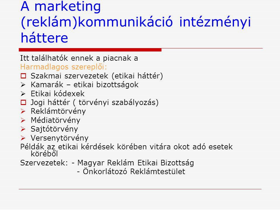 A marketing (reklám)kommunikáció intézményi háttere Itt találhatók ennek a piacnak a Harmadlagos szereplői:  Szakmai szervezetek (etikai háttér)  Ka