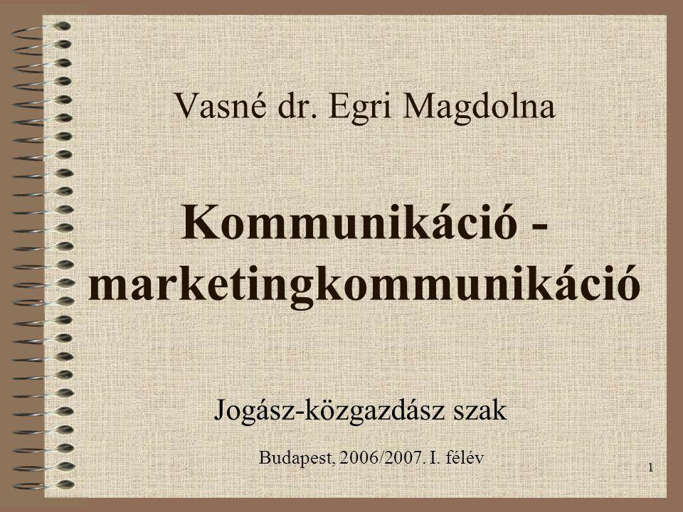 1 Vasné dr. Egri Magdolna Kommunikáció - marketingkommunikáció Jogász-közgazdász szak Budapest, 2006/2007. I. félév