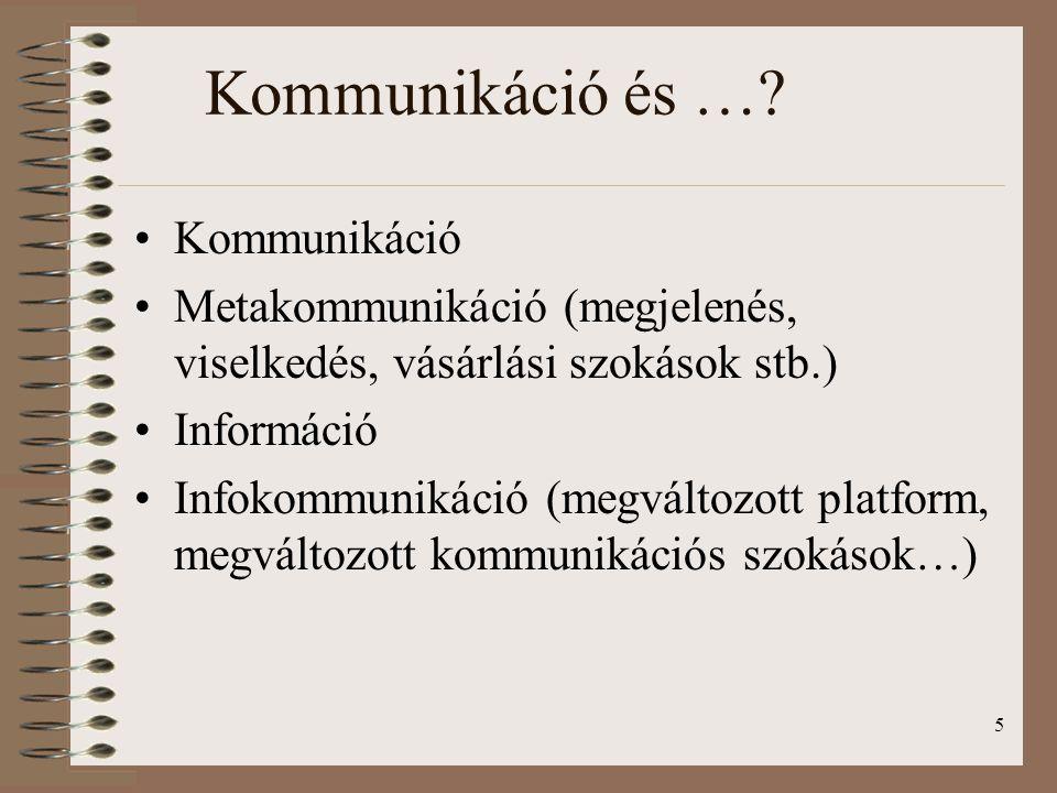 5 Kommunikáció és …? Kommunikáció Metakommunikáció (megjelenés, viselkedés, vásárlási szokások stb.) Információ Infokommunikáció (megváltozott platfor