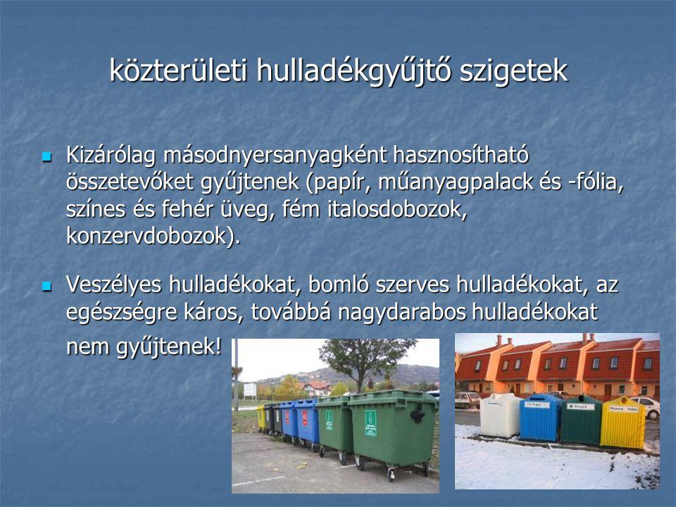 közterületi hulladékgyűjtő szigetek Kizárólag másodnyersanyagként hasznosítható összetevőket gyűjtenek (papír, műanyagpalack és -fólia, színes és fehé