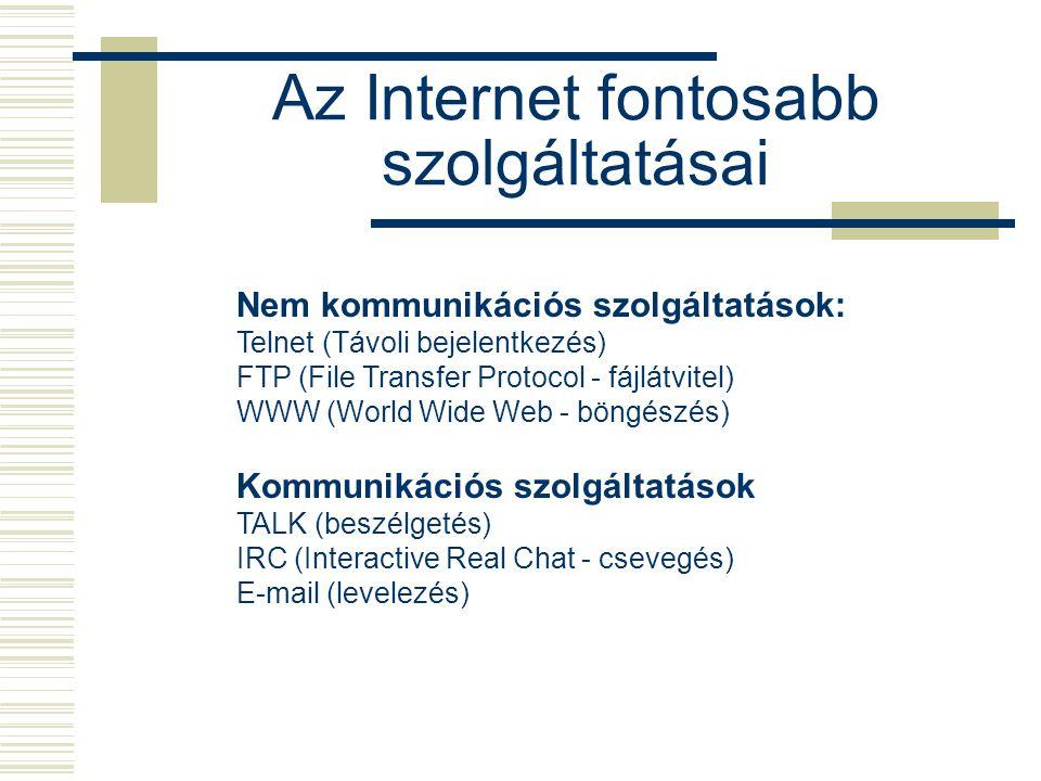 Az Internet fontosabb szolgáltatásai Nem kommunikációs szolgáltatások: Telnet (Távoli bejelentkezés) FTP (File Transfer Protocol - fájlátvitel) WWW (World Wide Web - böngészés) Kommunikációs szolgáltatások TALK (beszélgetés) IRC (Interactive Real Chat - csevegés) E-mail (levelezés)