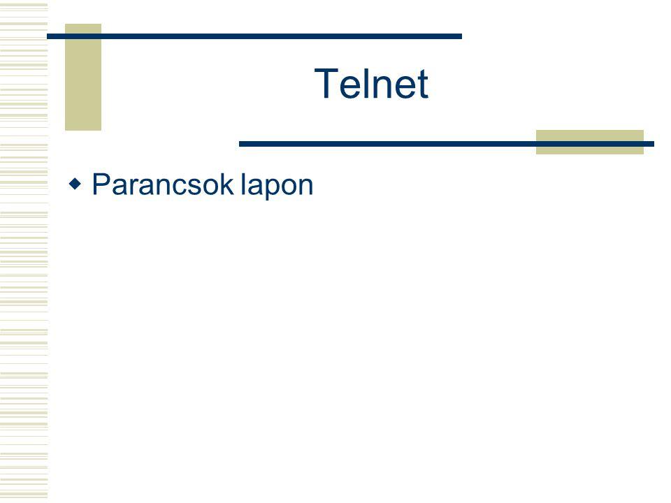 Telnet  Parancsok lapon
