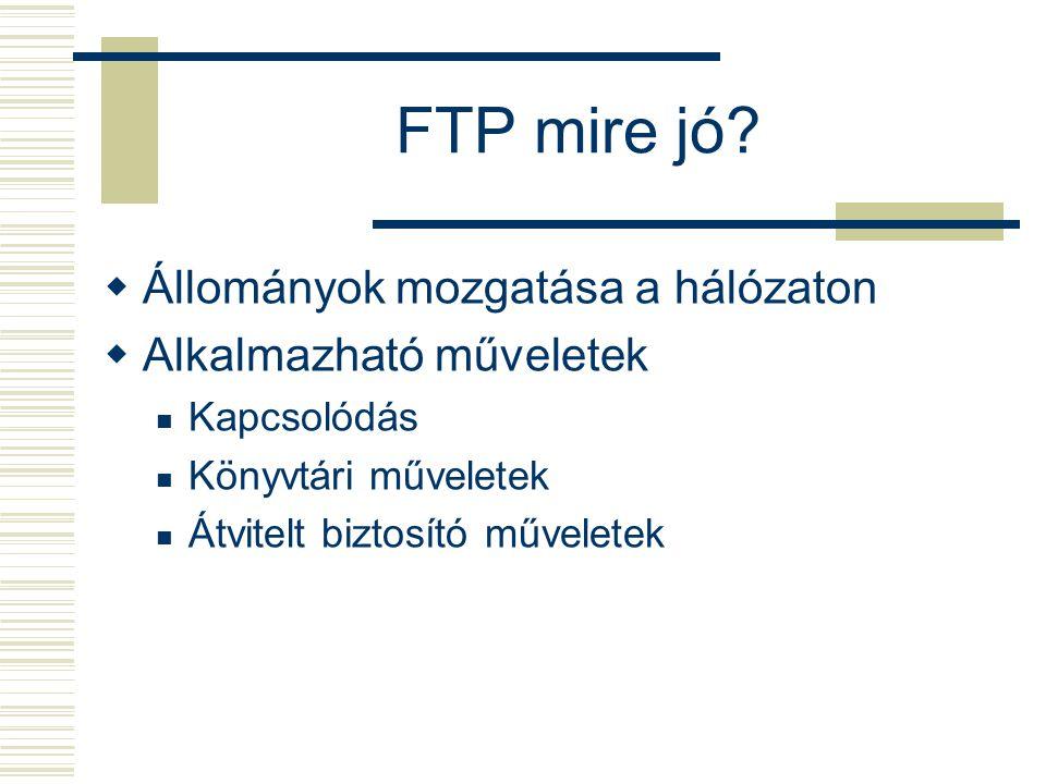 FTP mire jó?  Állományok mozgatása a hálózaton  Alkalmazható műveletek Kapcsolódás Könyvtári műveletek Átvitelt biztosító műveletek