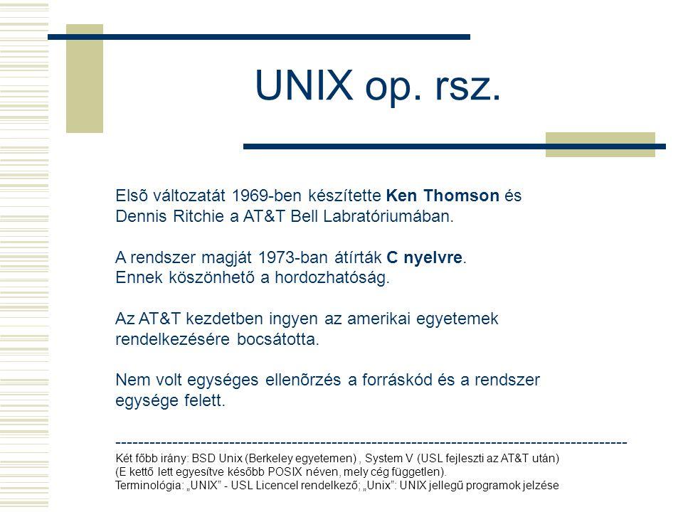 UNIX op. rsz. Elsõ változatát 1969-ben készítette Ken Thomson és Dennis Ritchie a AT&T Bell Labratóriumában. A rendszer magját 1973-ban átírták C nyel