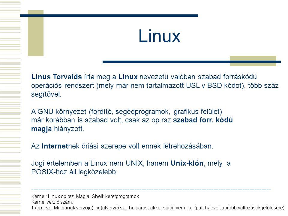 Linux Linus Torvalds írta meg a Linux nevezetű valóban szabad forráskódú operációs rendszert (mely már nem tartalmazott USL v BSD kódot), több száz segítővel.