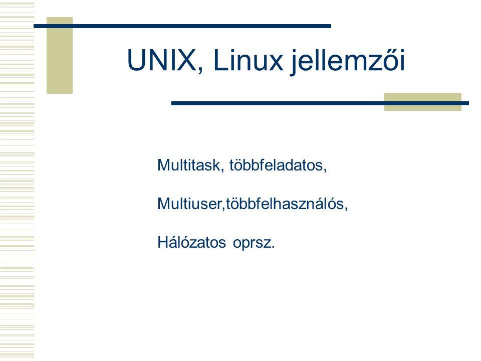 UNIX, Linux jellemzői Multitask, többfeladatos, Multiuser,többfelhasználós, Hálózatos oprsz.