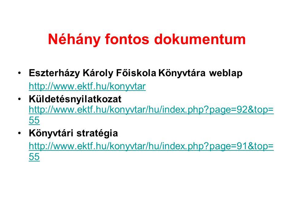 Néhány fontos dokumentum Eszterházy Károly Főiskola Könyvtára weblap http://www.ektf.hu/konyvtar Küldetésnyilatkozat http://www.ektf.hu/konyvtar/hu/index.php?page=92&top= 55 http://www.ektf.hu/konyvtar/hu/index.php?page=92&top= 55 Könyvtári stratégia http://www.ektf.hu/konyvtar/hu/index.php?page=91&top= 55