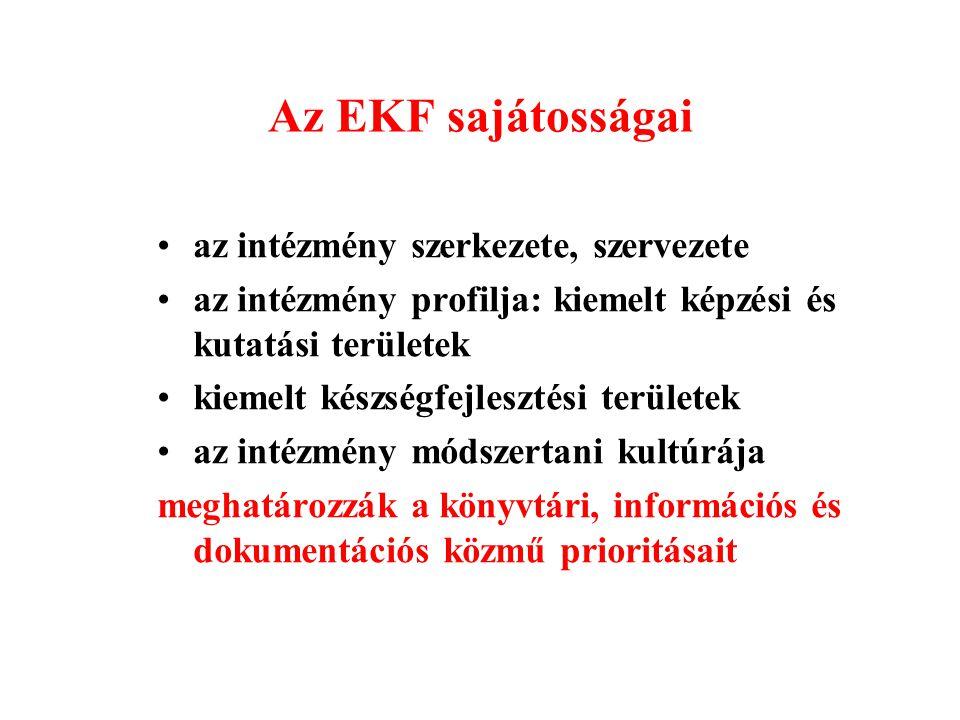 Az EKF sajátosságai az intézmény szerkezete, szervezete az intézmény profilja: kiemelt képzési és kutatási területek kiemelt készségfejlesztési területek az intézmény módszertani kultúrája meghatározzák a könyvtári, információs és dokumentációs közmű prioritásait