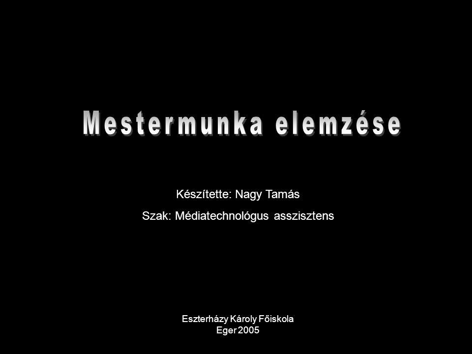 Készítette: Nagy Tamás Szak: Médiatechnológus asszisztens Eszterházy Károly Főiskola Eger 2005