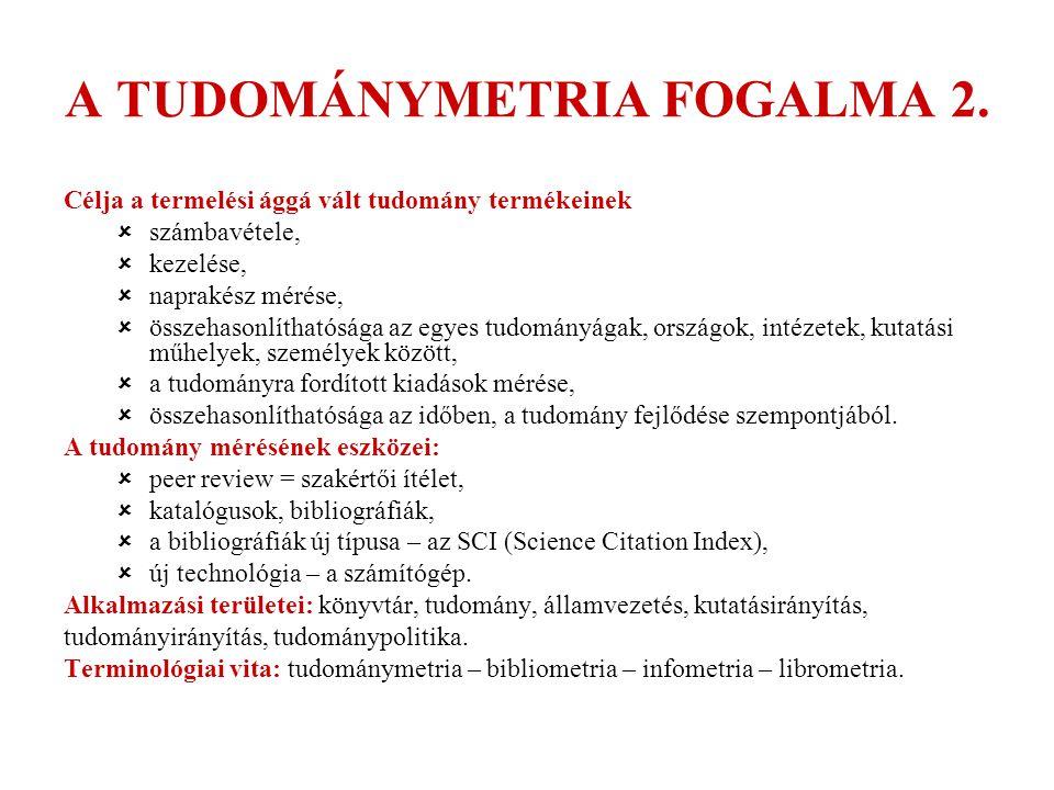 A TUDOMÁNYMETRIA MAGYARORSZÁGON KIADVÁNYOK 1.