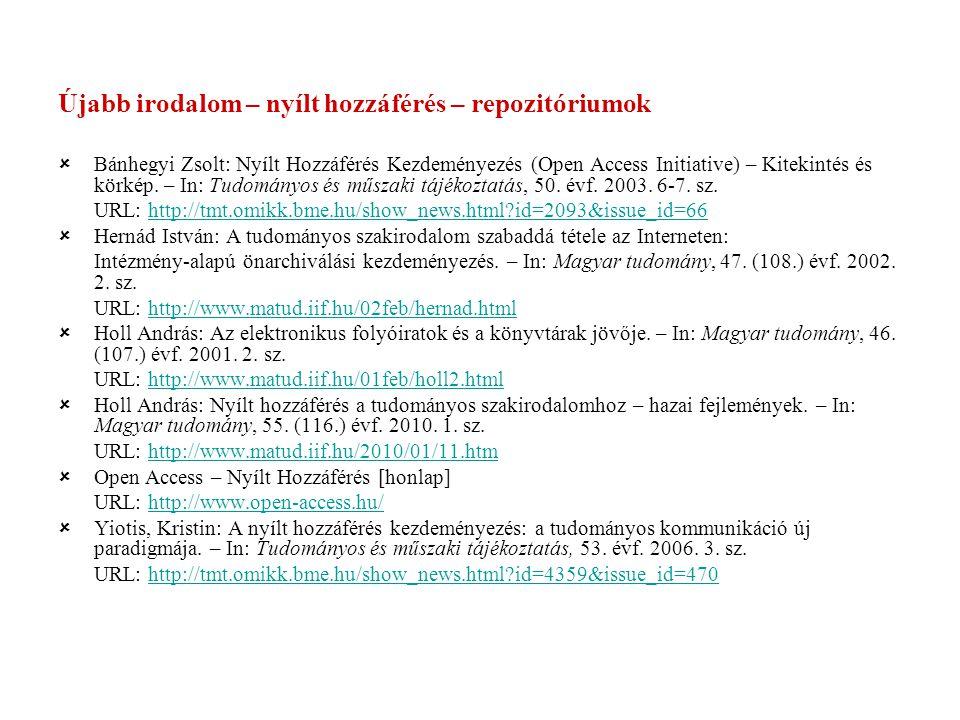 Újabb irodalom – nyílt hozzáférés – repozitóriumok  Bánhegyi Zsolt: Nyílt Hozzáférés Kezdeményezés (Open Access Initiative) – Kitekintés és körkép.