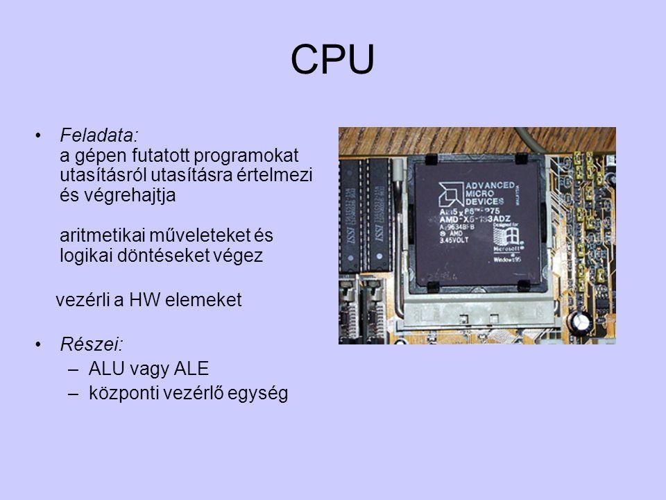 CPU Feladata: a gépen futatott programokat utasításról utasításra értelmezi és végrehajtja aritmetikai műveleteket és logikai döntéseket végez vezérli